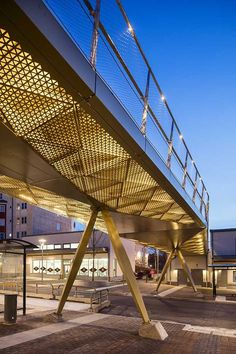 /Rinkeby bridge - lighting design by Black ljusdesign/ - lighting design - bridge lighting - perforated metal - public spaces - golden light - Adnan Beg Facade Lighting, Exterior Lighting, Lighting Design, Bridges Architecture, Landscape Architecture Design, Canopy Architecture, Sky Bridge, Pedestrian Bridge, Public Space Design