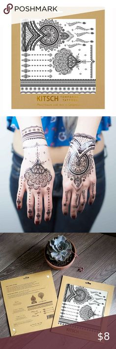 Kitsch Black Henna Temp Tattoos NEW! Bold and edgy Temp Tattoo, Temporary Tattoo, Black Henna, Henna Tattoos, Kitsch, Ear Piercings, Make Your Own, Hand Drawn, Body Art