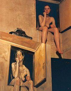 At Work: Lucien Freud, British Figurative Painter. Sigmund Freud, Lucian Freud, Photomontage, Artists And Models, Figure Painting, Art Studios, Artist At Work, Figurative Art, Contemporary Artists