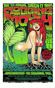 Original silkscreen concert poster for Flogging Molly at the House of Blues in Orlando, FL in 2001. 23x35 inches. Signed and numbered out of 270 by the artist Stainboy.