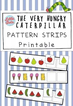 Free Pattern strips printable based on the book The Very Hungry Caterpillar. Practice to continue AB, AAb, ABB, AABB and ABC patterns with these adorable printable. Free Preschool, Preschool Themes, Preschool Printables, Free Math, Preschool Worksheets, Preschool Learning, Caterpillar Preschool, The Very Hungry Caterpillar Activities, Math Patterns