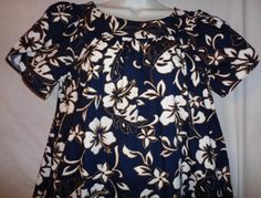 This listing is for a classic Hilo Hattie mumu dress/midi dress. The size tag shows medium, but because this is a loose dress, I believe it can fit a large to x-large as well. This dress comes in magnificent, pre-owned condition! It doesnt look like it was even worn, or if so, not very much. The Hibiscus florals are very bold, and there is no loss of color due to washings, etc. A very crisp piece great for running out and about, beach wear, etc.!  Measurements are as follows: -shoulders ...