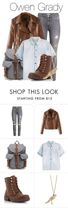"""""""Owen Grady - Jurassic World"""" by the-wonders-fashion ❤ liked on Polyvore featuring Mode, H&M, Herschel Supply Co., Current/Elliott, Head Over Heels by Dune, jurassicpark, Owen, jurassicworld und OwenGrady"""