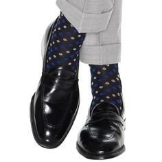 Dapper Classics Black with Clematis Blue and Ash Neats Cotton Sock Linked Toe Patterned Socks, Cotton Socks, Clematis, Dapper, Loafers Men, Oxford Shoes, Dress Shoes, Stylish, Classic