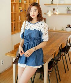 Womens Summer Dresses Summer Korean New Arrived Round Collar Jeans Date Wear Hole Short Sleeve Sweet Street Style Over Size Women Dress Discount #womendress #dress