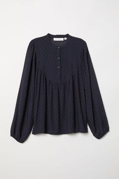 Blouse in pattern-weave fabric with a henley collar, button placket, long balloon sleeves, and yoke at front and back with gathers. Stylish Dress Designs, Designs For Dresses, Stylish Dresses, Kurta Designs, Blouse Designs, Blouse Volantée, Latest Fashion Clothes, Fashion Outfits, Girls Dresses Sewing