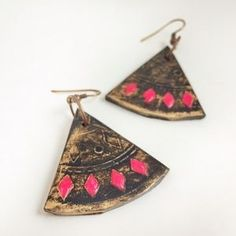 Handmade Jewelry - Tribal boho handmade gold dangle earrings | Use offer code BNYRN to sign up for Poshmark and get $10 off this purchase! #shopmycloset #poshmark #fashion #shopping #style #forsale #ootd