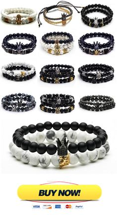 King And Queen Bracelet With Natural Beads and Crown Material: Natural Stone Type: Beaded Bracelet Metals Type: Zinc Alloy Gender: Unisex Braided Bracelets, Metal Bracelets, Handmade Bracelets, Jewelry Bracelets, Jewelry Clasps, Jewellery, Couple Bracelets, Bracelets For Men, Fashion Bracelets