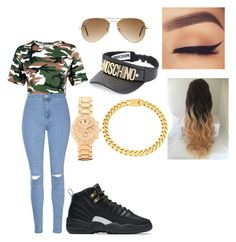 I stay slayed by keakeabad on Polyvore featuring polyvore mode style Glamorous BKE Eklexic Moschino Ray-Ban NIKE fashion clothing