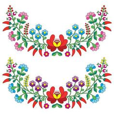 Hungarian floral folk pattern - Kalocsai embroidery with flowers and paprika — Stock Illustration Mexican Embroidery, Hungarian Embroidery, Folk Embroidery, Brazilian Embroidery, Learn Embroidery, Floral Embroidery, Embroidery Tattoo, Embroidery Dress, Chain Stitch Embroidery