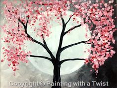 Springtime Full Moon - Fayetteville, AR Painting Class - Painting with a Twist