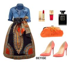 """""""BLACK & ORANGE ⚫️"""" by betty-sanga ❤ liked on Polyvore featuring Yves Saint Laurent, Christian Louboutin, Chanel and omniaasaad"""
