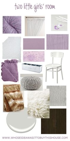 Design plan and ideas for a purple, white, and grey two little girls' room.