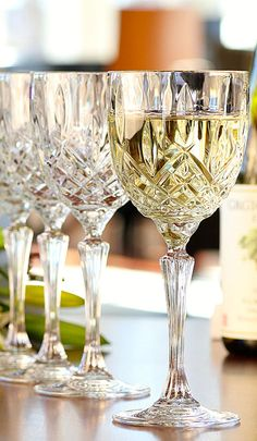 Marquis by Waterford Crystal Markham Crystal Wine, Set of Four Crystal Glassware, Waterford Crystal Wine Glasses, Crystal Vase, Decoration Table, White Wine, Wines, Dinnerware, Table Settings, Tableware
