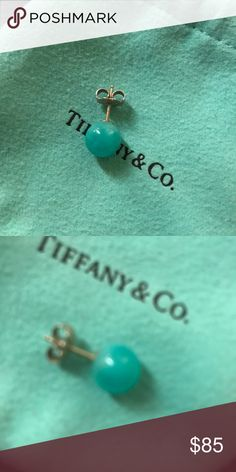 Tiffany & Co. amazonite turquoise earring (single) Rare. Pre-loved Single Tiffany and co. turquoise amazonite earring. I lost the match and so I only have the one. DOES NOT COME WITH THE TIFFANY POUCH AND ONLY COMES WITH ONE EARRING. Stone has one small scratch towards the bottom where the post is. Tiffany & Co. Jewelry Earrings