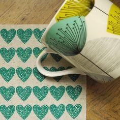 loveheart  screenprinted fabric in deep jade by summersville, £5.00