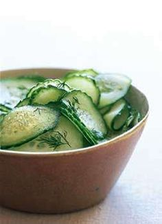 ~sweet & sour cucumbers; add thinly sliced sweet onions and fresh dill