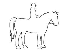 Horse and rider pattern. Use the printable outline for crafts, creating stencils, scrapbooking, and more. Free PDF template to download and print at http://patternuniverse.com/download/horse-and-rider-pattern/