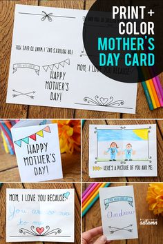 Cute printable Mother's Day card that kids can color for Mom! It prints on one sheet of paper and folds up into a mini book. #itsalwaysautumn #mothersday #mothersdaycraft