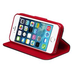 MyJacket Vertical Wallet Case for Apple iPhone 5 & 5S, Black/Red