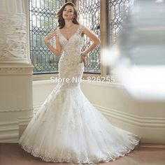 2017 New Arrival Free Shipping Spaghetti Strap V Neck Mermaid Appliques Sexy Back Charming Wedding Dress/Bridal Gown ZH0480