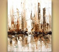 Contemporary abstract city White Painting Modern Palette Knife Art by Osnat #Abstract