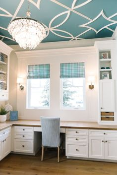 House of Turquoise: Dream Home Tour - Day Five - OMG, the ceiling detail in the craft room at Mapleton, UT home designed by Lindy Allen of Four Chairs Furniture: