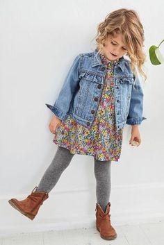 Jachetă din denim albastru nuanță medie cu volan (3 luni - 6 ani)