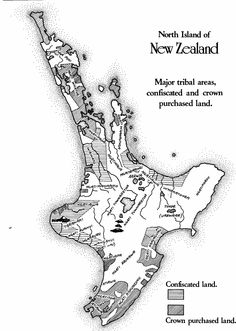 Map of land confiscations Treaty Of Waitangi, Map, Location Map, Maps