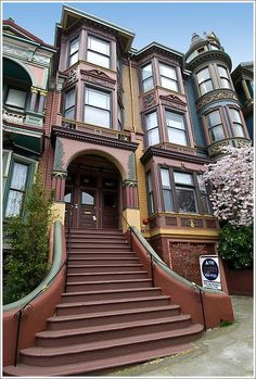 """One of the """"Painted Ladies"""" of San Francisco. """"Painted ladies"""" is a term in American architecture used for Victorian and Edwardian houses and buildings painted in three or more colors that embellish or enhance their architectural details."""