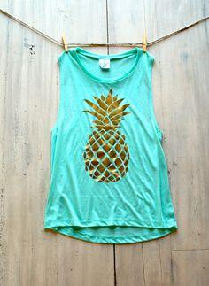 Women's Muscle Tee Tank Mint Pineapple Pinterest by ICaughtTheSun