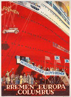 Bernd Steiner poster: Bremen Europa Columbus - Norddeutscher Lloyd
