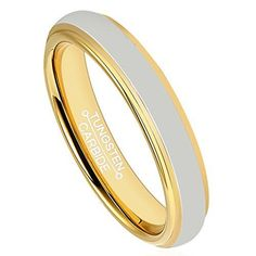 4mm Tungsten Carbide Ring Wedding band 18k Gold Plated Polished Beveled Edge Comfort Fit