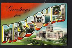 """Large Letter Linen Vintage Postcard """"Greetings from MISSOURI"""" Pub. by Curt Teich"""
