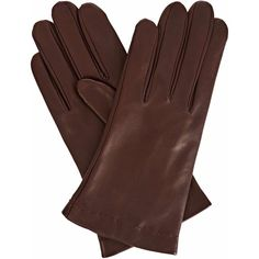 Gizelle Renee - Emily Everyday Dark Brown Leather Gloves (8.525 RUB) ❤ liked on Polyvore featuring accessories, gloves, leather gloves, lined gloves and cashmere-lined leather gloves