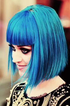 Katy Perry w/ Blue Hair Katy Perry, Short Hair Cuts, Short Hair Styles, American Idol, Hair Colorful, Blue Bob, Permanent Hair Color, Semi Permanent, Black Hair