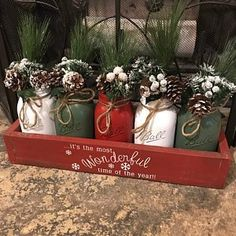 Mason jar christmas centerpiece Rustic mason jar c Pot Mason Diy, Rustic Mason Jars, Mason Jar Crafts, Merry Christmas, Christmas Mason Jars, Rustic Christmas, Mason Jar Christmas Decorations, Christmas Kitchen, Centerpiece Christmas