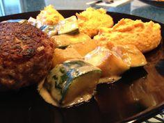 Fleischküchle mit Süßkartoffelpüree
