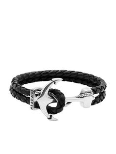 Men's Black Leather Bracelet with Silver Anchor - Nialaya Jewelry - 5