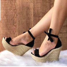Image may contain: one or more people and shoes Cc Shoes, Shoes Heels Wedges, Wedge Shoes, Pretty Shoes, Beautiful Shoes, Luxury Shoes, Fashion Boots, Punk Fashion, Lolita Fashion