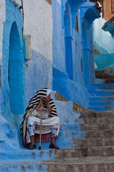 World's most colourful cities: Morocco's azure haven, Chefchaouen, a city high in Morocco's Rif Mountains known for its labyrinthine medina bathed entirely in shades of blue. Morocco Chefchaouen, Places To Go, The Places Youll Go, Beautiful Streets, Beautiful Places, Beautiful Beautiful, Amazing Places, Blue City, Morocco Travel
