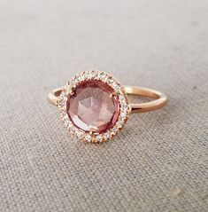 Pink tourmaline engagement ring Diamond engagement by ZacdeGal