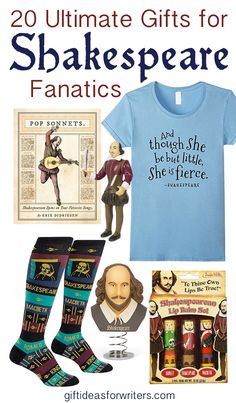 The 20 best gifts for Shakespeare lovers. Fun, cute, creative, and all must have! Literary gifts perfect for book lovers and William Shakespeare fans.