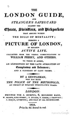 The London Guide and Stranger's Safeguard Against the Cheats, Swindlers, and pickpockets 1818