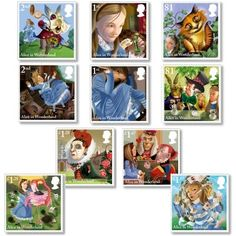 Large image of the Alice's Adventures in Wonderland Stamp Set