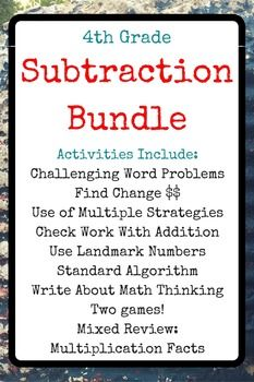 grade teachers, use these subtraction activities to build subtraction problem solving skills. This Common Core-aligned bundle comes with activities, discussion questions, and an answer key. Subtraction Activities, Multiplication Facts, Math Games, Problem Solving Skills, Math Skills, Math Lessons, Math Stations, Math Centers, Common Core Math Standards