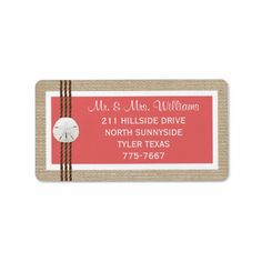 Sand Dollar Beach Wedding Labels- Coral Custom Address Labels