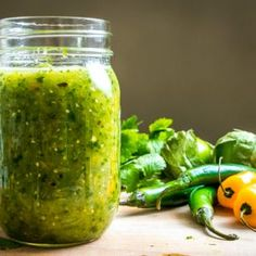 """Habanero peppers create volcanic heat in this lively green Fire Salsa. It's the perfect reply when someone asks """"Got anything hotter? Salsa De Habaneros, Habanero Salsa, Salsa Picante, Spicy Salsa, Salsa Salsa, Salsa Verde, Hot Salsa, Habanero Recipes, Hot Sauce Recipes"""