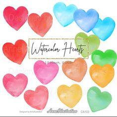 Watercolor heart clipartLove | Etsy Rainbow Clipart, Simple Collage, Bird Clipart, Spring Birds, Watercolor Heart, Embroidery Files, Collage Sheet, Rainbow Colors, App Design