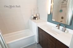 Bathroom Design Gallery : Bathroom Remodeling Photos  Like: corner nook between vanity & tub - but maybe too much wasted space?